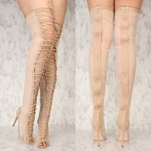 Shoes - Sexy Nude Sheer Open Toe Lace Up Thigh High Boots!
